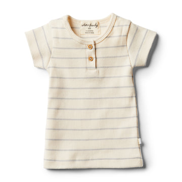 Organic Glacier Grey Stripe Tee - Wilson and Frenchy