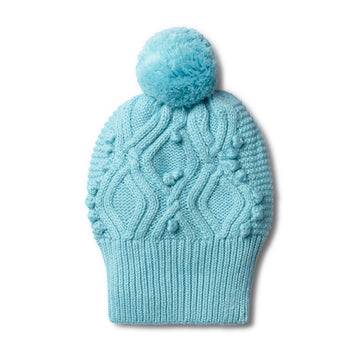 PETIT BLUE CABLE KNITTED POM POM HAT-Wilson and Frenchy