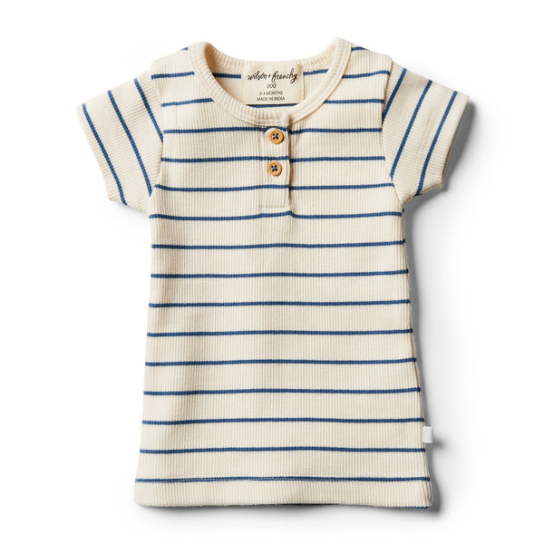 Organic Deep Blue Stripe Tee - Wilson and Frenchy