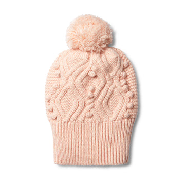 PEACHY PINK CABLE KNITTED POM POM HAT - Wilson and Frenchy