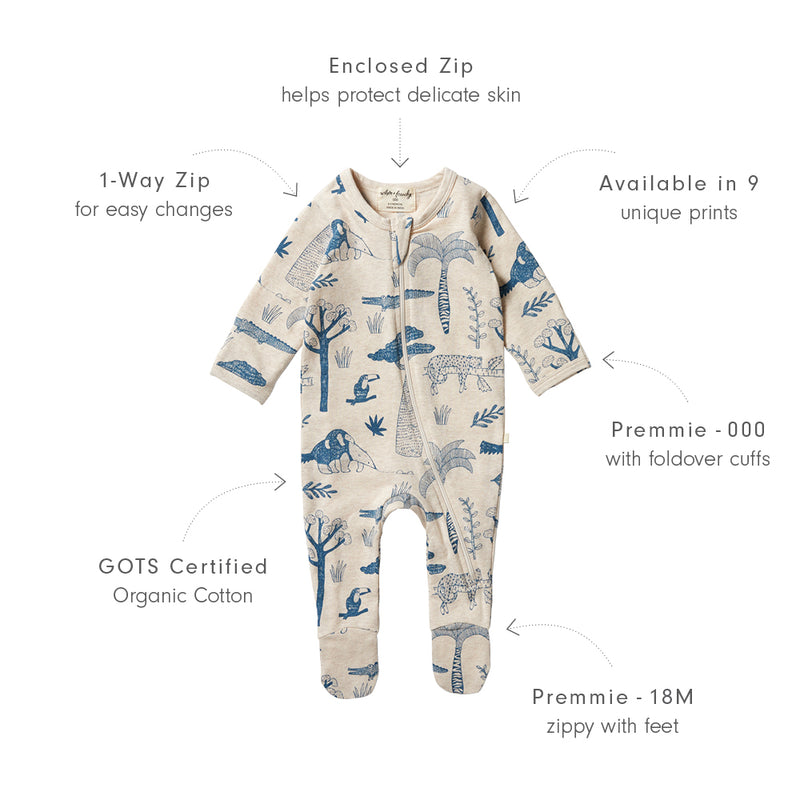 Organic Zipsuit with Feet