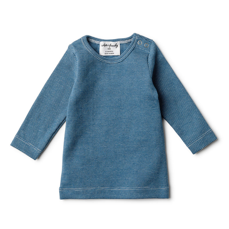ORGANIC INK BLUE RIB LONG SLEEVE TOP - Wilson and Frenchy