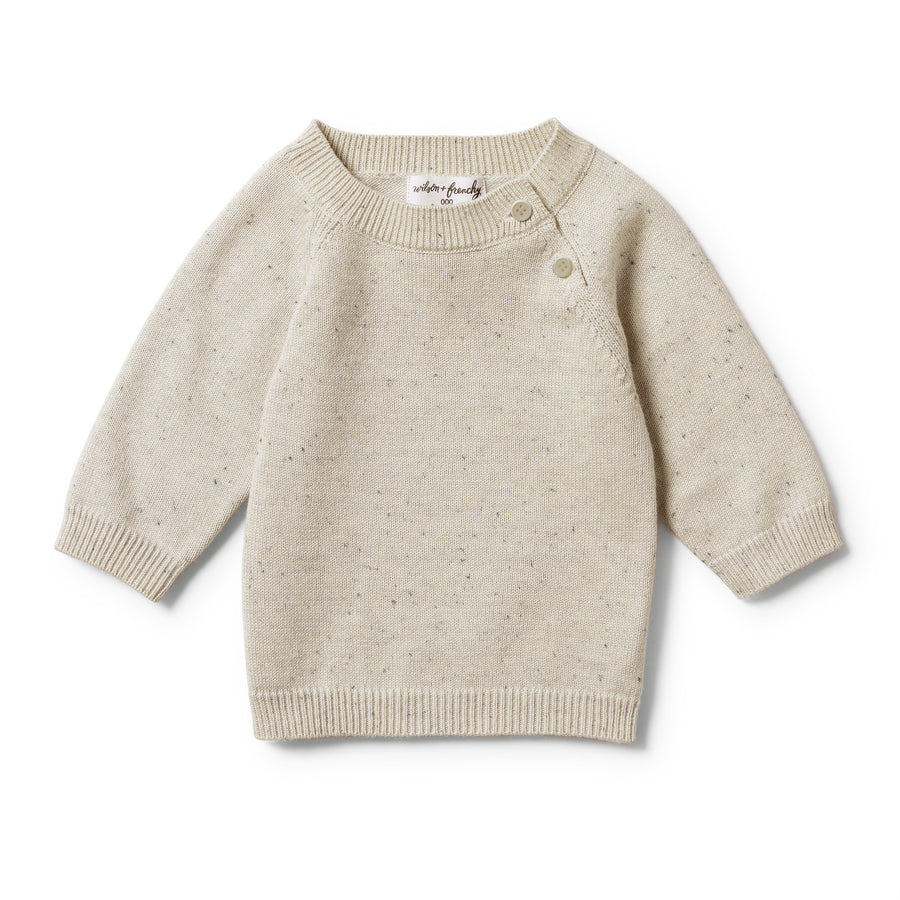 OLIVE SPECKLE KNITTED JUMPER