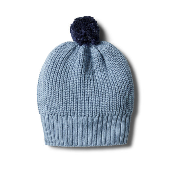 Faded Denim Rib Knitted Hat - Wilson and Frenchy