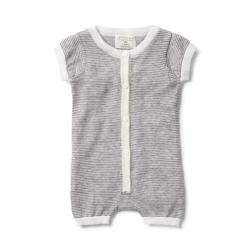 CHARCOAL STRIPE KNITTED SHORT SLEEVE GROWSUIT - Wilson and Frenchy