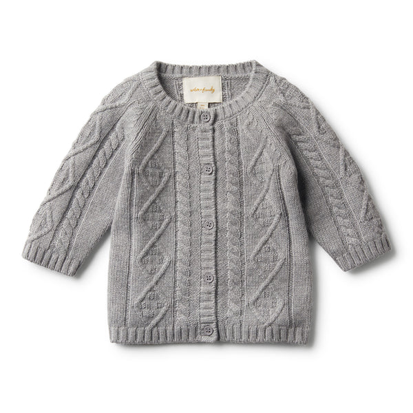 LUXE WOOL CABLE KNIT CARDIGAN - Wilson and Frenchy