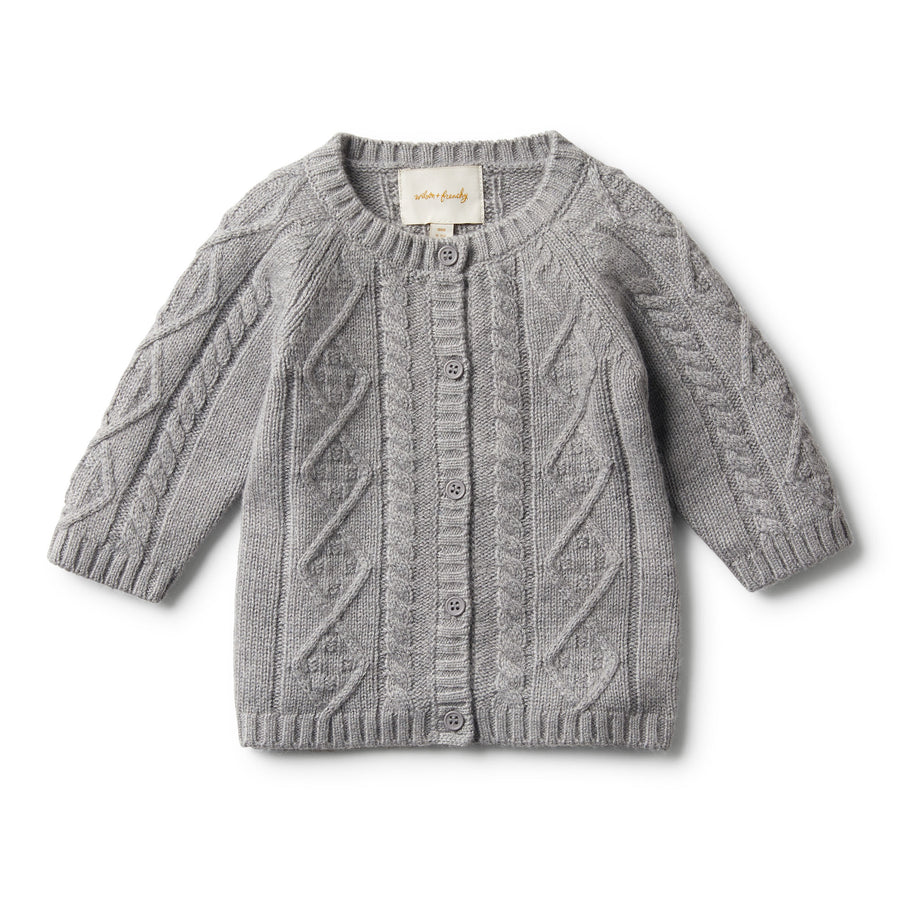 LUXE WOOL CABLE KNIT CARDIGAN