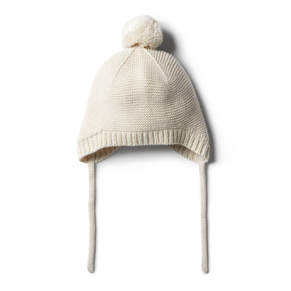 Oatmeal Knitted Bonnet - Wilson and Frenchy