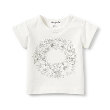 WREATH ROLLED CUFF TEE-T-SHIRT-Wilson and Frenchy