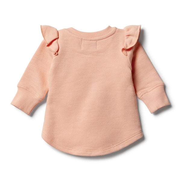 Tropical Peach Speckle Ruffle Sweat Top - Wilson and Frenchy