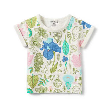 FLORA ROLLED CUFF TEE-T-SHIRT-Wilson and Frenchy