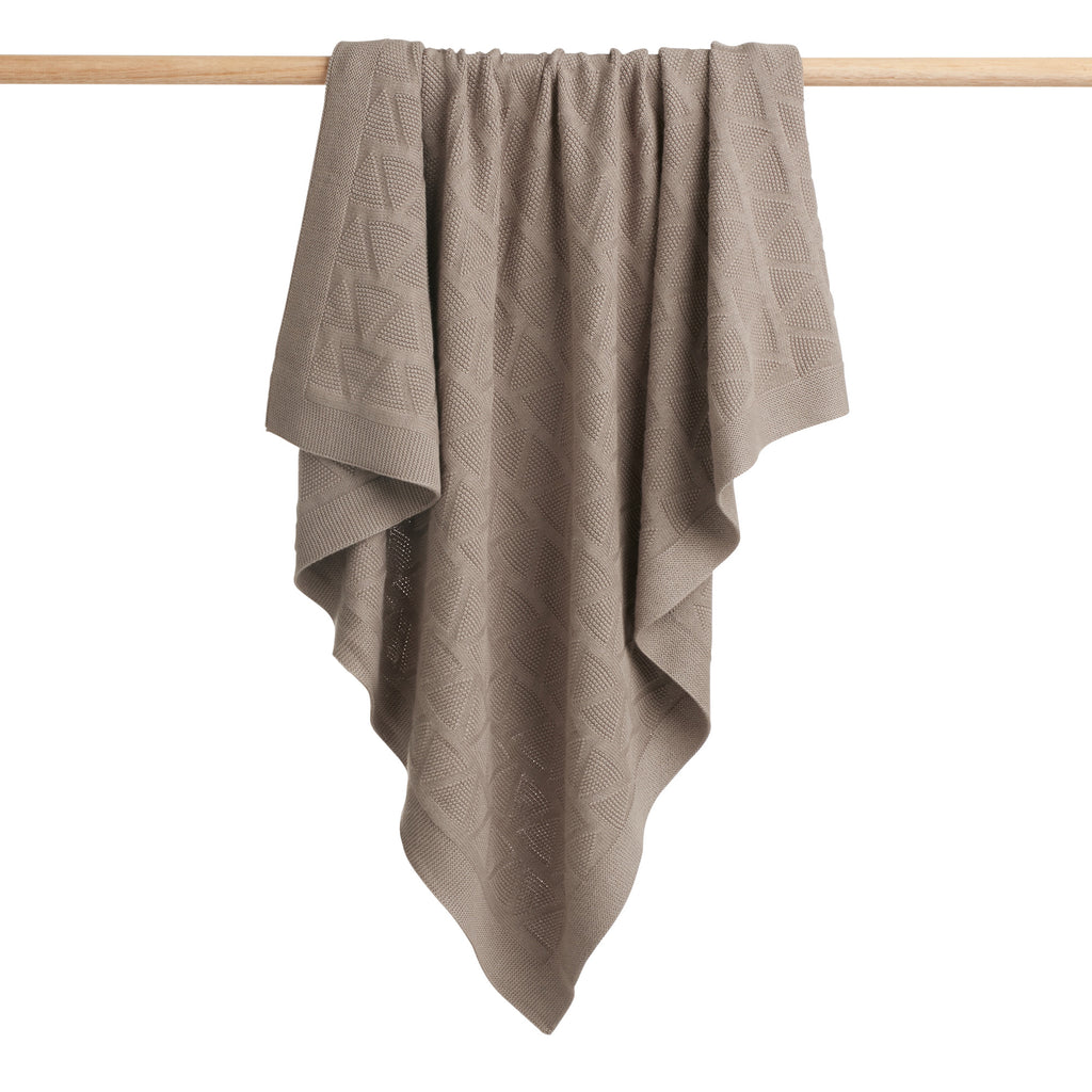 SMOKE GREY KNITTED BLANKET