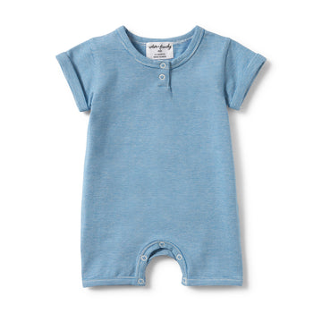 MEDITERRANEAN BLUE STRIPE PLACKET DETAIL BOYLEG GROWSUIT-GROWSUIT-Wilson and Frenchy