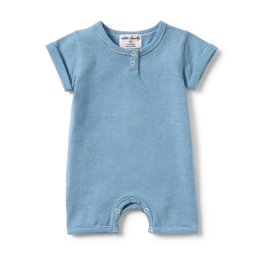 MEDITERRANEAN BLUE STRIPE PLACKET DETAIL BOYLEG GROWSUIT - Wilson and Frenchy