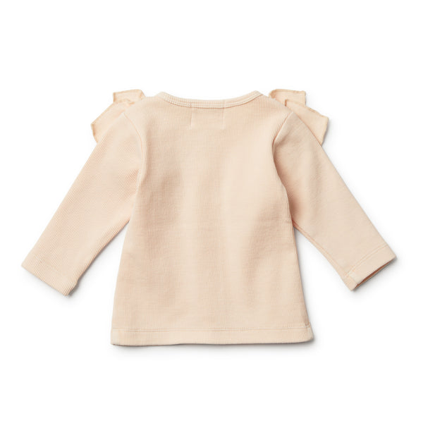 Peach Dust Cardigan with Ruffle - Wilson and Frenchy