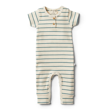 Organic Jungle Green Stripe Growsuit