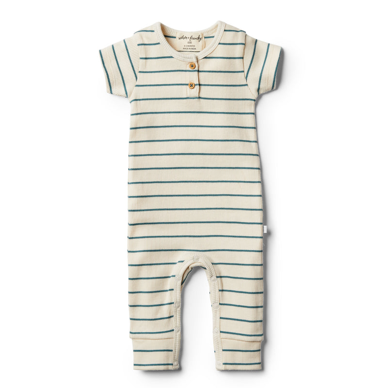 Organic Jungle Green Stripe Growsuit - Wilson and Frenchy