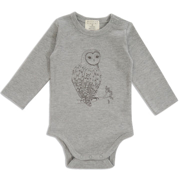 LITTLE OWL LONG SLEEVE BODYSUIT-BODYSUIT-Wilson and Frenchy