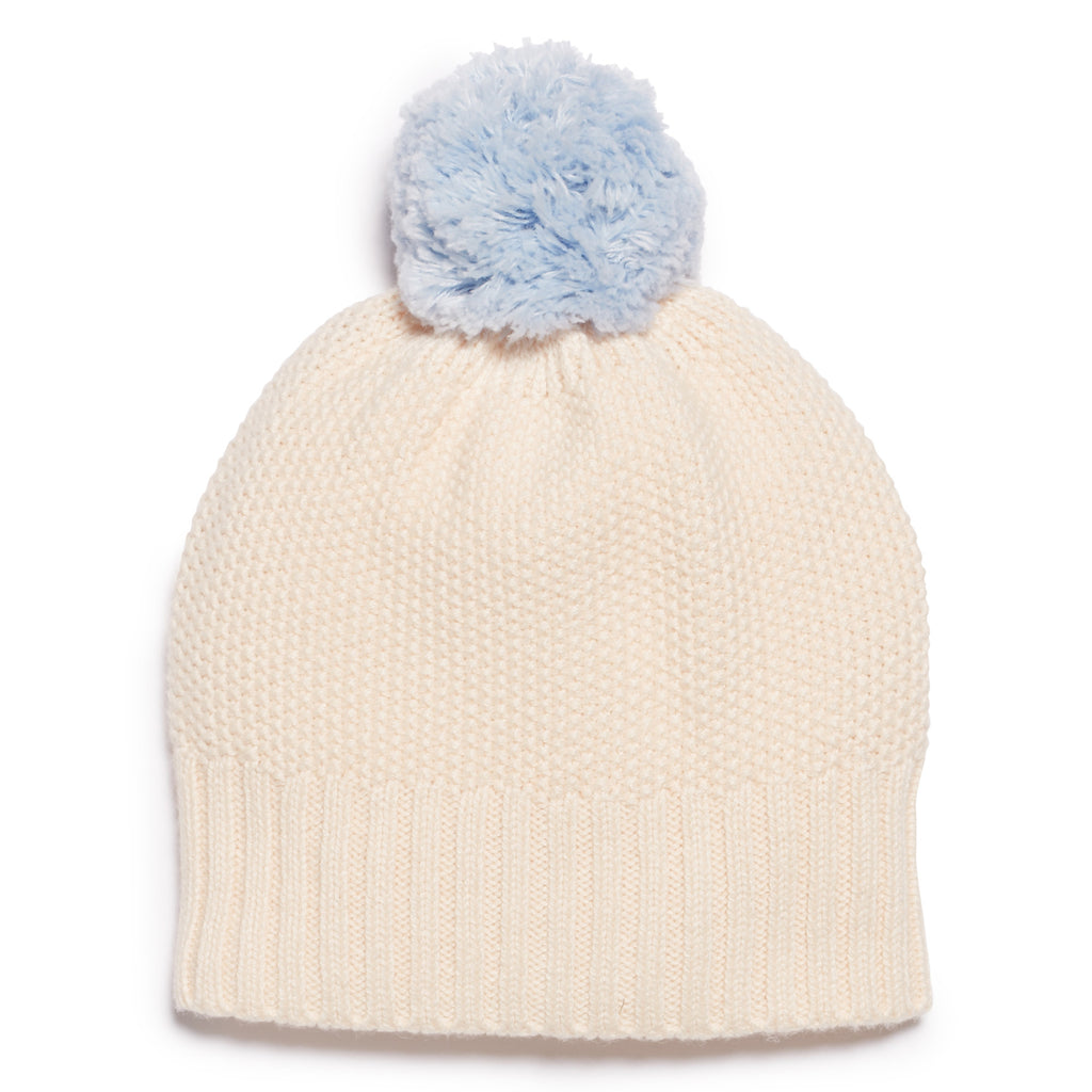 OATMEAL & CASHMERE BLUE KNITTED HAT