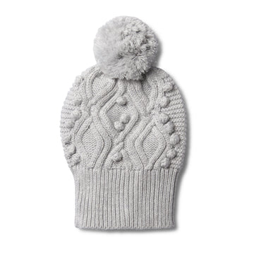 GREY MELANGE CABLE KNITTED POM POM HAT - Wilson and Frenchy