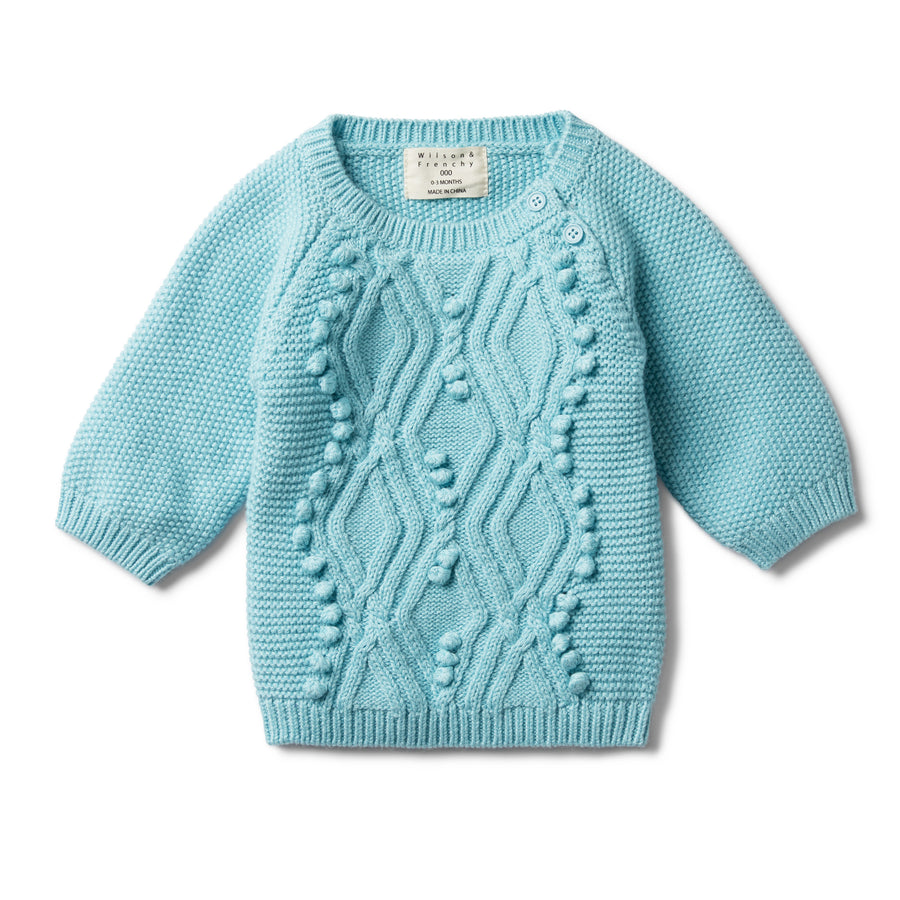 PETIT BLUE CABLE KNITTED POM POM JUMPER - Wilson and Frenchy