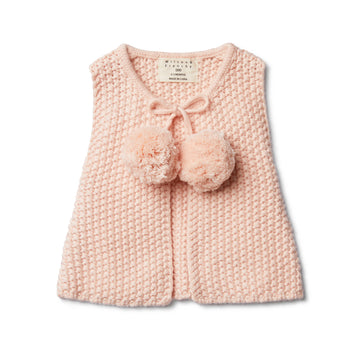 PEACHY PINK KNITTED VEST WITH POM POMS - Wilson and Frenchy