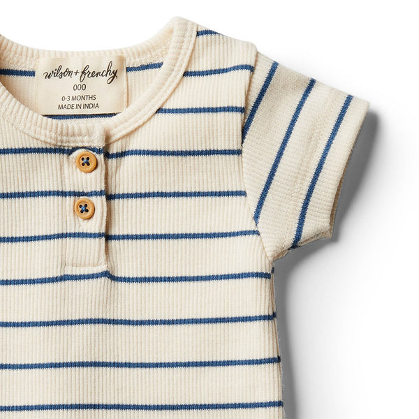 Organic Deep Blue Stripe Tee