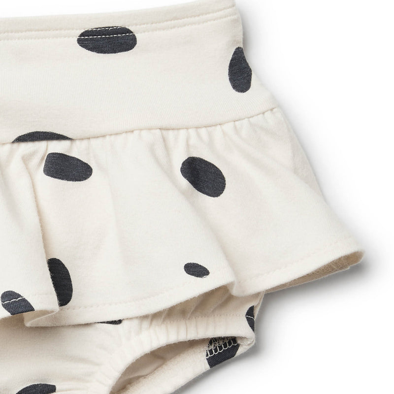 Organic Speckled Spots Nappy Pant with Ruffle