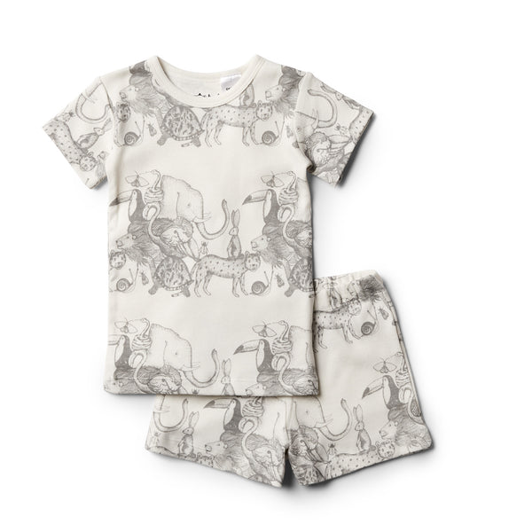Organic Animalia Short Sleeve Pyjama Set - Wilson and Frenchy