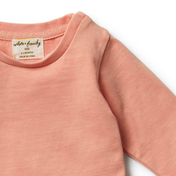 Peach Pearl Ruffle Sweat