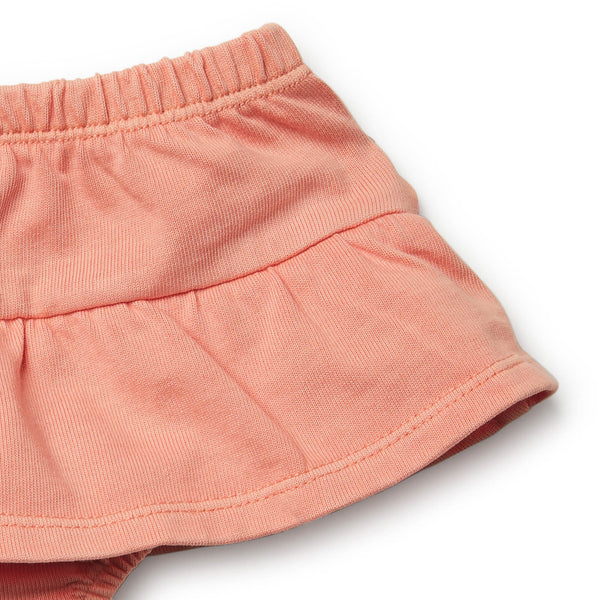 Peach Pearl Nappy Pant with Ruffle