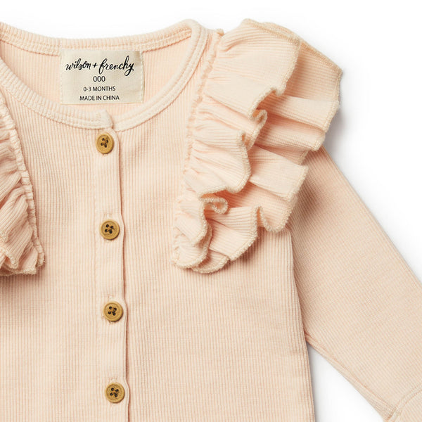 Peach Dust Cardigan with Ruffle