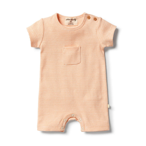 Organic Stripe Rib Growsuit