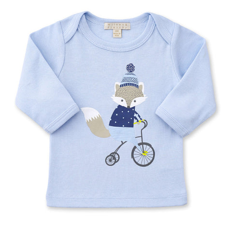 BLUE LITTLE FOX LONG SLEEVE TOP