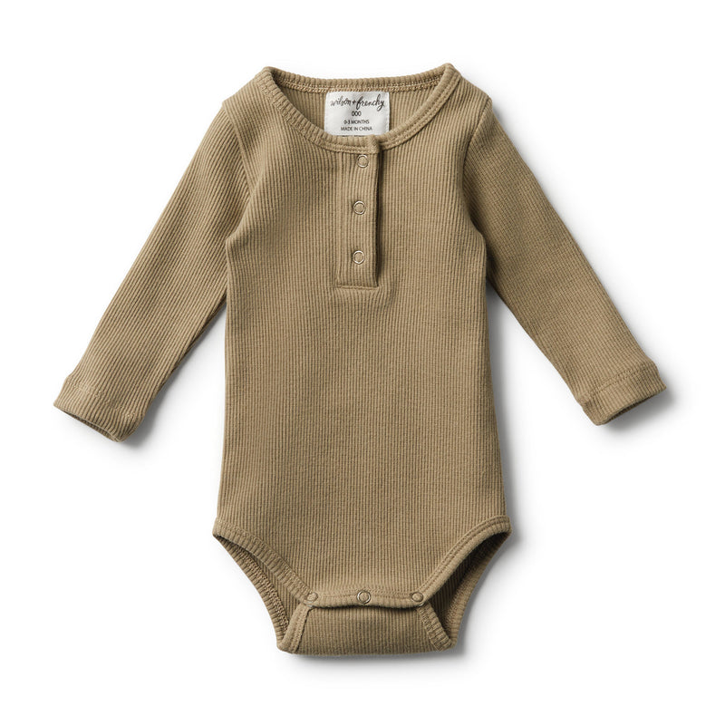 ORGANIC OLIVE RIB LONG SLEEVE BODYSUIT - Wilson and Frenchy