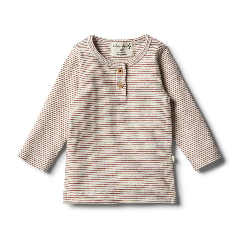 Organic Toasted Pecan Henley Top - Wilson and Frenchy