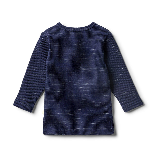 Twilight Blue Waffle Henley Top - Wilson and Frenchy