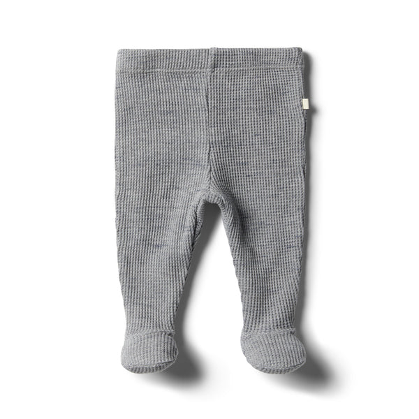 Cloud Grey Waffle Footed Legging - Wilson and Frenchy