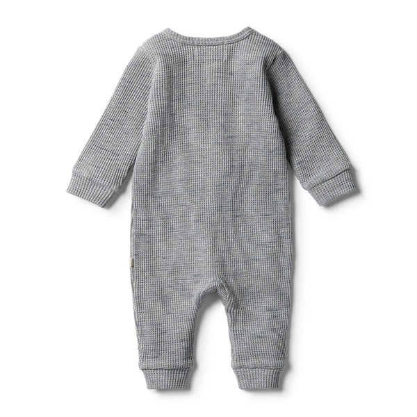 Cloud Grey Waffle Zipsuit - Wilson and Frenchy
