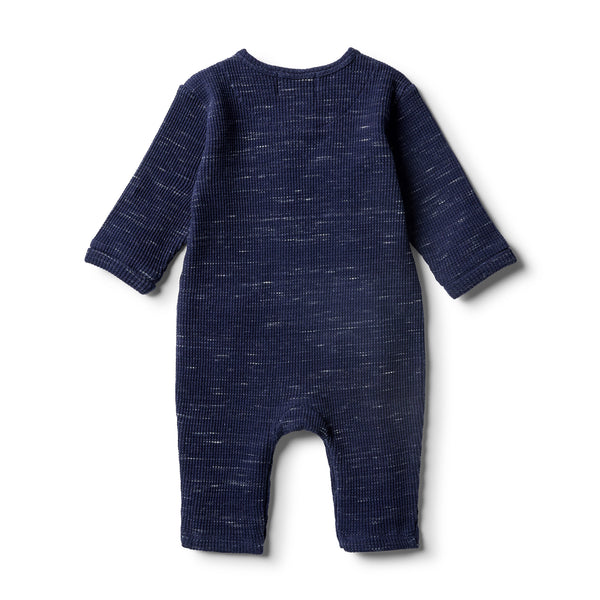 Twilight Blue Waffle Slouch Growsuit - Wilson and Frenchy