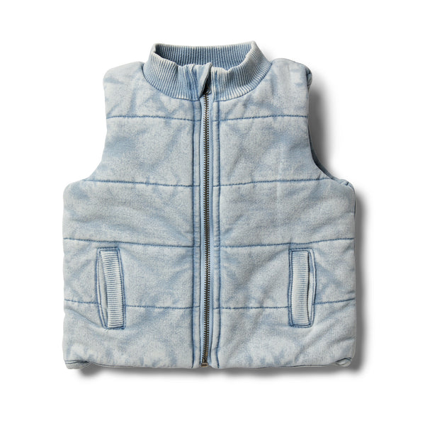 Shark Grey Denim Look Quilted Vest