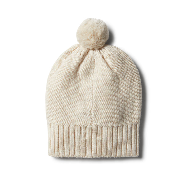 Oatmeal Knitted Hat with Baubles - Wilson and Frenchy