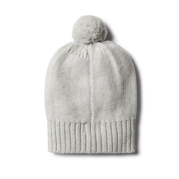 Cloud Grey Knitted Hat with Baubles - Wilson and Frenchy