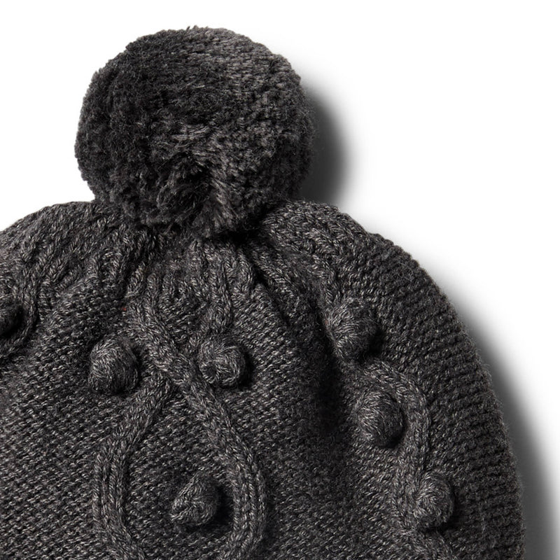 Storm Grey Knitted Hat with Baubles