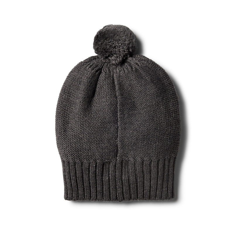 Storm Grey Knitted Hat with Baubles - Wilson and Frenchy