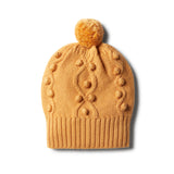 Golden Apricot Knitted Hat with Baubles - Wilson and Frenchy