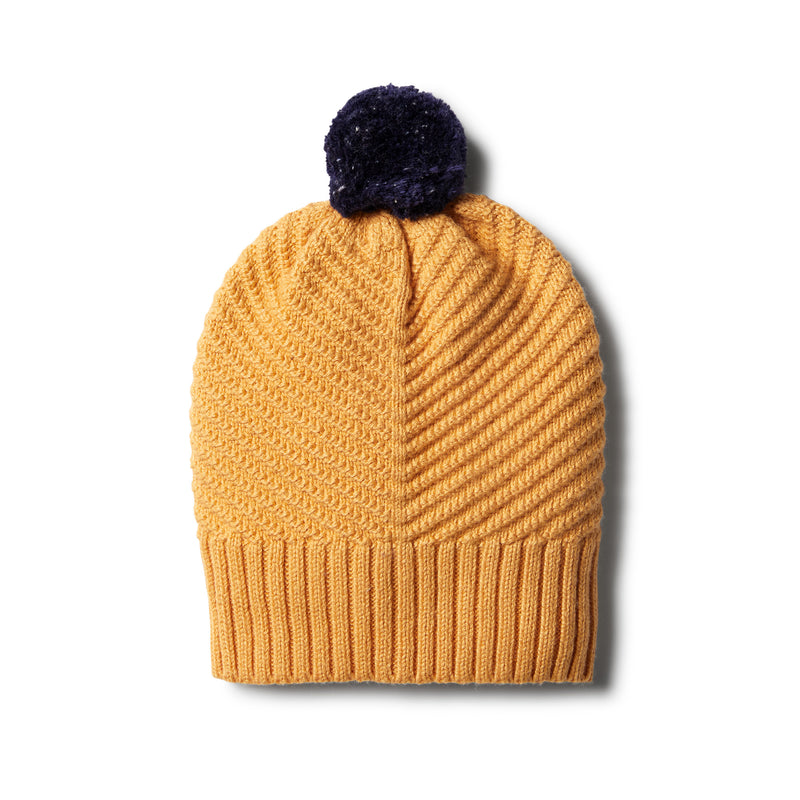 Golden Apricot Knitted Chevron Hat - Wilson and Frenchy