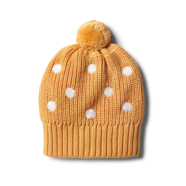 Golden Apricot Knitted Spot Hat - Wilson and Frenchy