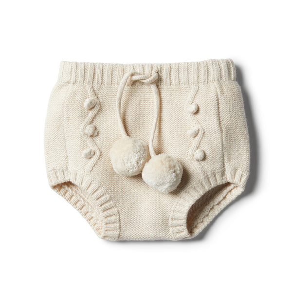 Oatmeal Knitted Nappy Pant - Wilson and Frenchy