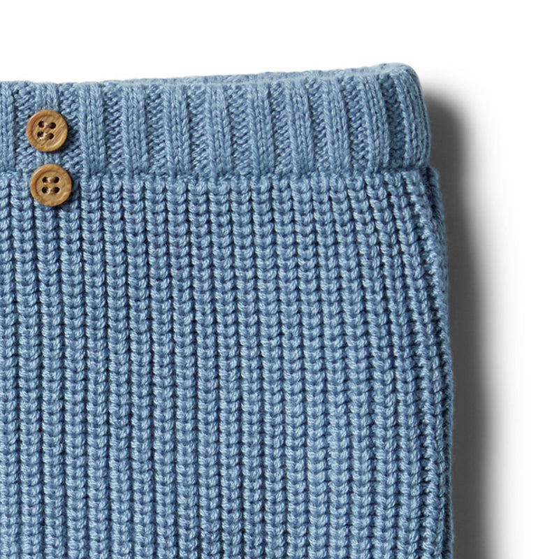 Faded Denim Rib Knitted Legging